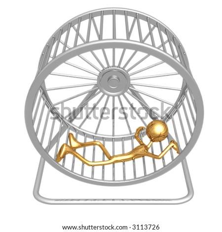 Worn Out Tired Hamster Wheel Runner - stock photo
