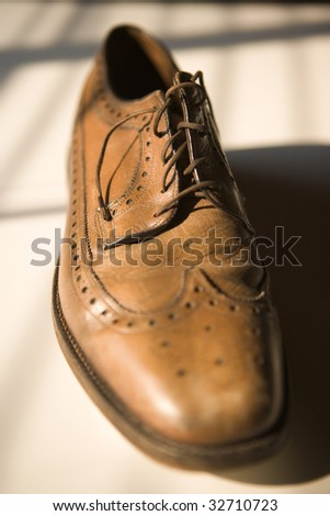 Worn Oxford Men's Business Shoe - stock photo