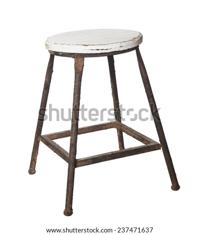 Worn Vintage Stool isolated on white background