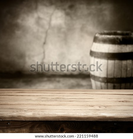 worn wall and free space on table  - stock photo