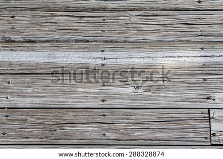 Worn, weathered and sandy beach planks for backgrounds or texture - stock photo