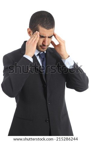Worried arab businessman with head ache isolated on a white background - stock photo