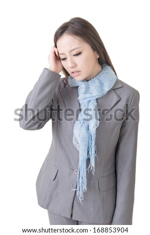 Worried business woman of young Asian lady, closeup portrait on white. - stock photo