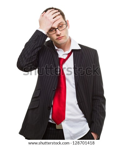Worried businessman. bad business decisions. Distressed, frustrated, confused or sad. - stock photo