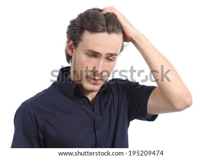 Worried depressed man with the hand on the head isolated on a white background - stock photo