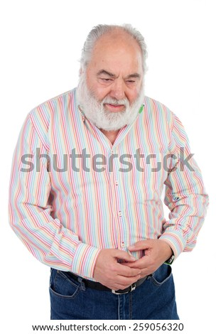 Worried elderly man with stomach pain isolated on a white background - stock photo