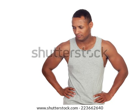 Worried latin boy isolated on a white background - stock photo