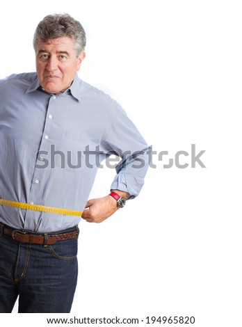 Worried man with a meter - stock photo