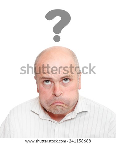 Worried man with question mark over his head. - stock photo