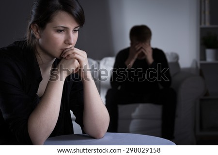 Worried married couple making decision about divorce - stock photo
