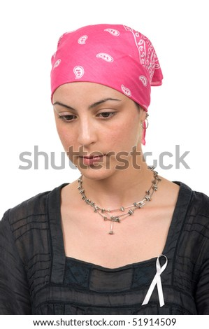 Worried real breast cancer survivor 2 months after chemotherapy - stock photo