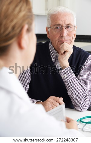 Worried Senior Man Meeting With Doctor In Surgery