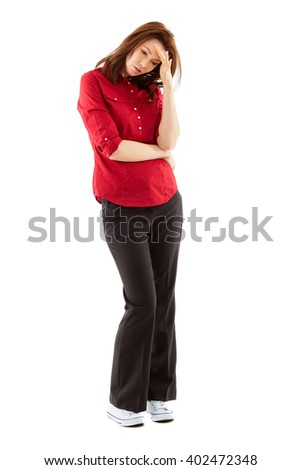Worried, stressed young woman isolated over white background, full body shoot - stock photo