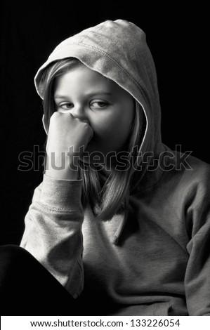 Worried teenager - stock photo