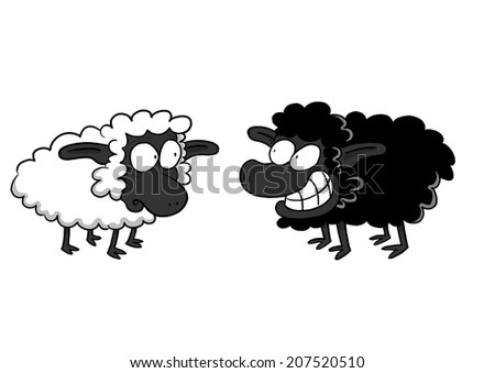 Worried White Sheep And Smiling Black Sheep - stock photo