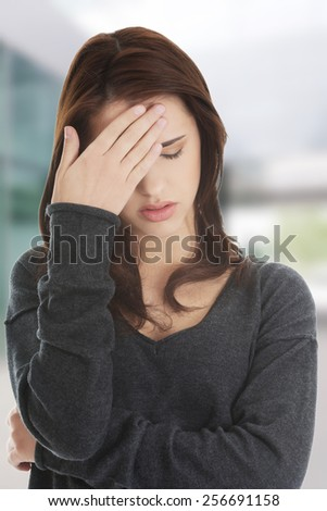 Worried woman have big problem