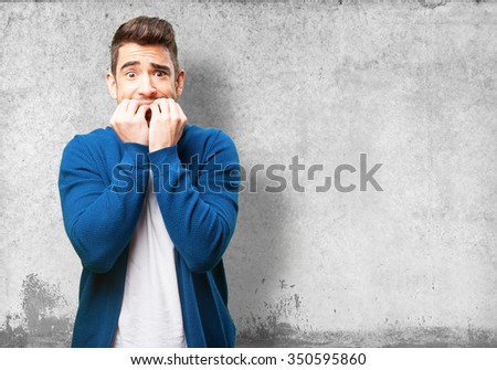 worried young man - stock photo