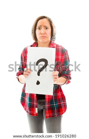 Worried young woman showing question mark sign - stock photo