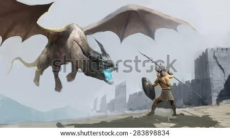 worrier fighting dragon outside castle - stock photo