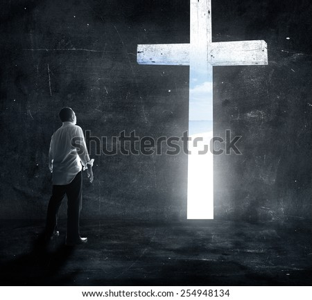 Worship concept. Hand, Life, Chorus, Song, Pray, Praise, Autumn, Cross, Xmas, Sky, Day, Give, Adore, Right, Belief, Trust, Music, Peace, Death, Bless, Help, Mercy, Grief, God, Live, Room, Dark, Shadow - stock photo