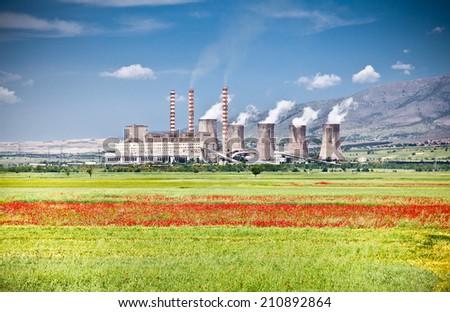 Worst polluters of atmosphere are on the fertile fields of agricultural - stock photo