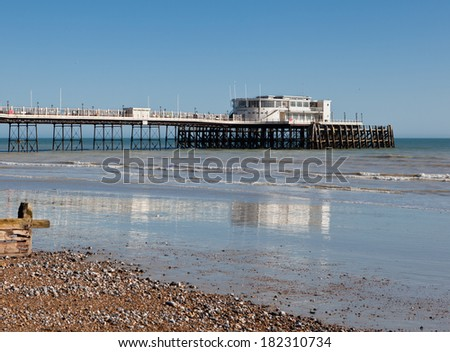 Worthing pier and beach, Worthing, West Sussex, United Kingdom