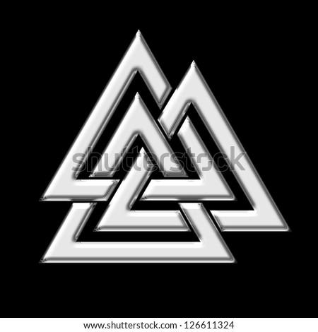 Wotan`s Knot Silver / Valknut / Odin, triangle - stock photo