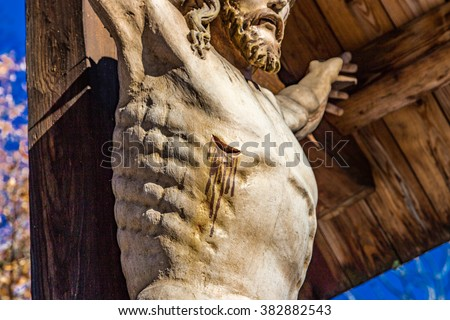 wound in the side of Jesus Christ Crucified, detail of a statue of Jesus Christ crucified