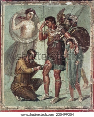 Wounded Aeneas, 2nd half 1st c. Depiction that illustrated the last episode of Virgil's Aeneid, Roman art, Early Empire, Fresco