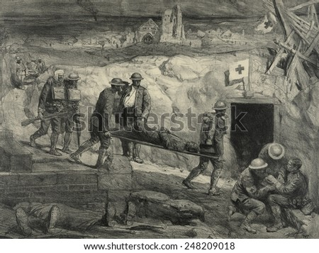 Wounded American soldiers entering an aid station in France during WW1. 1917-18. 1927 lithograph by Lucian Jonas.