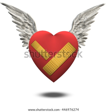 Wounded heart free to fly 3D Render - stock photo