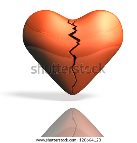Wounded heart torn. - stock photo