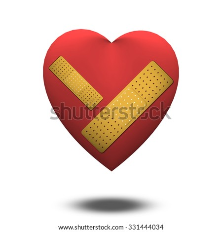 Wounded Heart with Bandage - stock photo