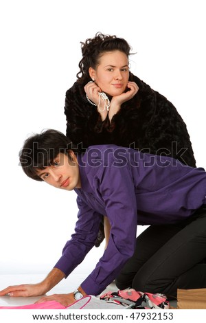 woung woman flirted, man kneeling, isolated in white