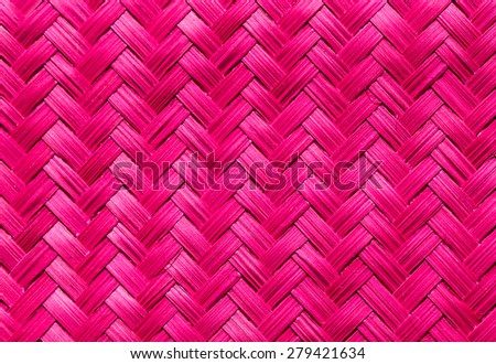 woven bamboo pink color  wood with natural patterns - stock photo