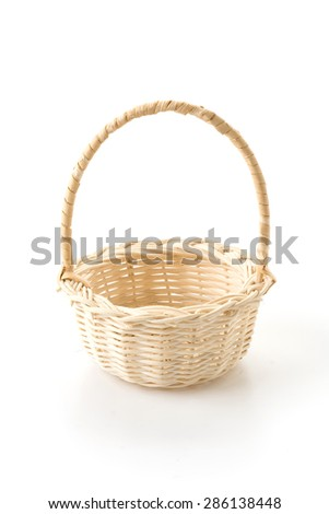 Woven basket on white background