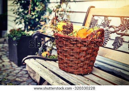 Woven basket with small pumpkins. Outdoor decoration - stock photo