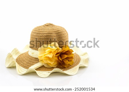 Woven hat on white background.  - stock photo