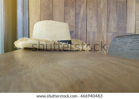 woven hat on wooden table , background image