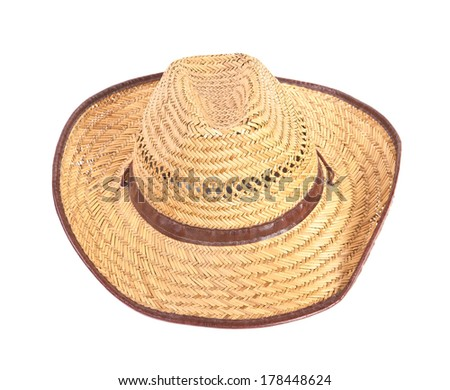 woven hat with a wide brim on a white background