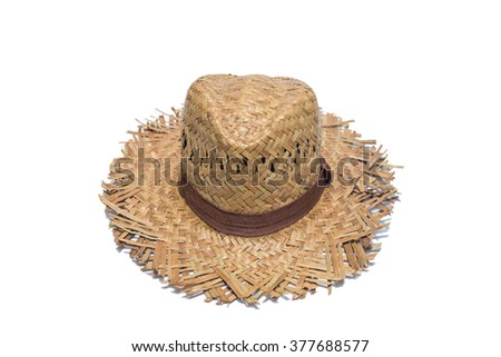 woven hats, isolated on white.