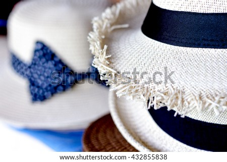Woven hats piled together,Close up - stock photo