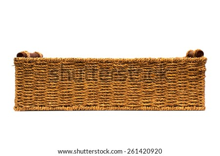 Woven rope basket with handles side view - stock photo