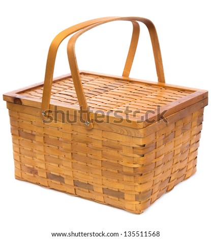 Woven Wood Basket Isolated on White - stock photo