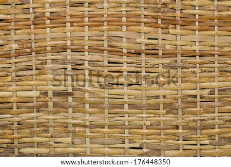 Woven wood wicker fence panel suitable for crafts, picnic or gardening background or wallpaper - stock photo