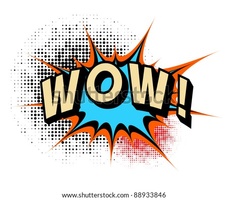 Wow. Comic book explosion. Vector version available in my gallery. - stock photo
