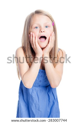 Wow! Studio portrait of shocked little girl with opened mouth. Isolated on white. - stock photo