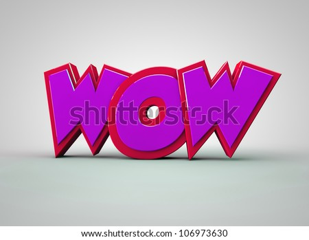 WOW text Pink - stock photo