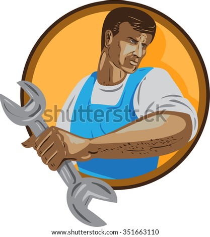 WPA style illustration of a mechanic worker looking to the side holding spanner wrench set inside circle on isolated background.  - stock photo