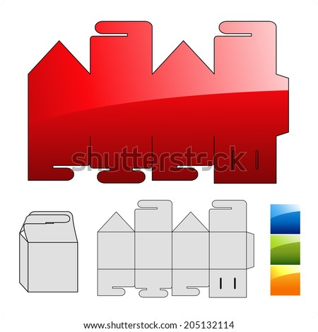 wrap puzzle template for box - stock photo